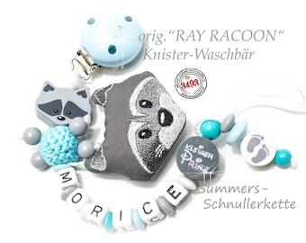 """Personalisierte Schnullerkette ORIGINAL """"RAY Racoon"""" Waschbär, Knister-Tierchen"""