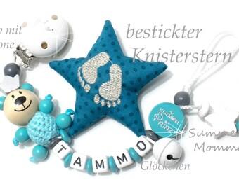 personalisierte Schnullerkette / Schnullerhalter für Jungen, mit Namen, türkis-grau, Knisterstern und Teddy