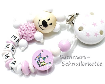 personalisierte Nuggikette Schnullerkette, Teddy Krone, Bär, Mit NAMEN, Name, mädchen