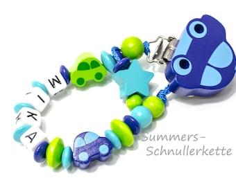 personalisierte Schnullerkette mit Namen,  Auto-Clip, Autos, Jungen