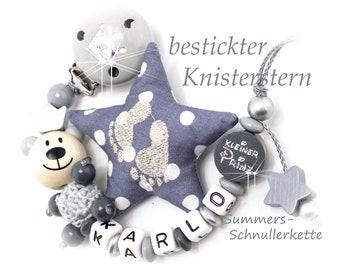 Personalisierte Schnullerkette Teddy Bär mit Wunschnamen und Extras, Buchstaben inklusive