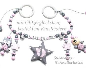 Kinderwagenkette Wagenkette mit Figuren Knisterstern Glöckchen und Wunschnamen