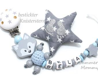 Schnullerkette mit Namen, Fuchs und Sterne Clip für Jungen. Taufe, Baby, Geburtstag, Party, Geschenk, Schnuller