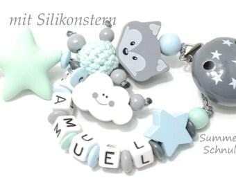 personalisierte Schnullerkette in Mint, grau und hellblau, Fuchs, Wolke, Sterne, Silikon Beißstern, Silikonkette, Junge Mädchen