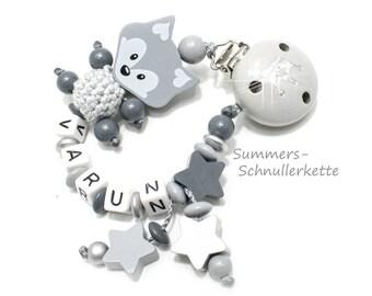 personalisierte Schnullerkette FUCHS, mit Namen, grau-silber, Sterne