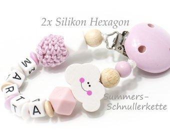 Schnullerkette mit Name, mit Silikon Hexagon Perlen Wolke rose
