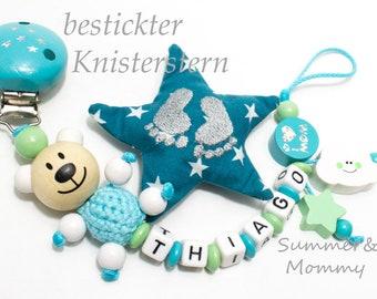 Schnullerkette mit Namen, Häkelkörper, Stickstern,  Türkis- mint Wolke, Junge I love Mum/Dad, personalisiert, Geschenk , Baby