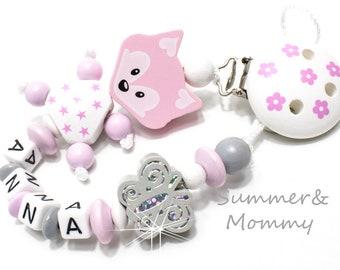 Schnullerkette mit Namen,  Mädchen in Grau-Rosa / Glitzerschmetterling,  Blumen, personalisiert