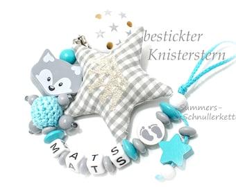 Personalisierte Schnullerkette mit Namen,  Jungen Junge, bestickter Knisterstern, Traumfarben: türkis, grau und weiß, Fuchs
