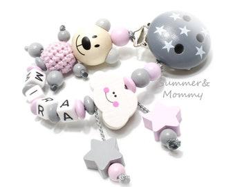 Schnullerkette Mädchen, Wolke, Teddy, Sternchen, mit Wunschnamen , personalisiert