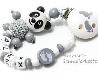 Schnullerkette Panda, Häkelperle