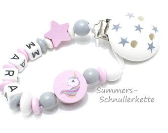 personalisierte Schnullerkette  mit Einhorn Motivperle, Mädchen, Rosa-grau