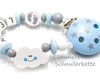 Baby Schnullerkette Wolke, hellblau-grau