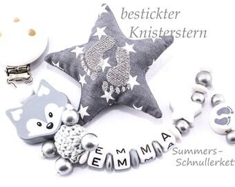 Schnullerkette Fuchs, grau-weiß-Silber
