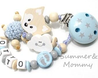 personalisierte Schnullerkette mit Name,  Jungen, Fuchs, babyblau-beige