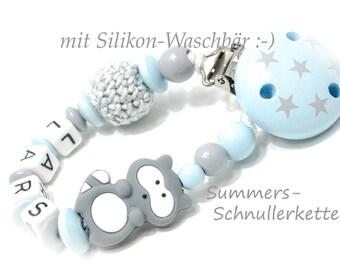 Schnullerkette mit Namen, Häkelperle und Silikon-Waschbär