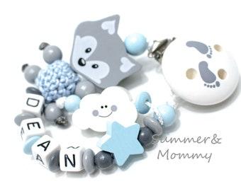 Schnullerkette hellblau grau mit Wolke, Fuchs und Sternchen, clip mit Füßchen