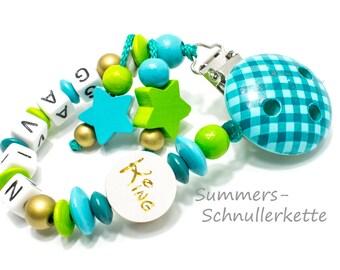 personalisierte Schnullerkette mit Namen, türkis-grün, Sternchen, KING