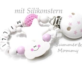 Personalisierte Schnullerkette mit Namen,  Wolke mit Silikon Beiß-Stern