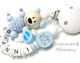 Schnullerkette , kleiner Prinz, personalisiert mit Namen, Teddy , Babyfüßchen