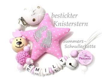 Schnullerkette mit Namen für Mädchen, mit  Teddy  / Glöckchen + Knisterstern, Rosa-weiß, Baby