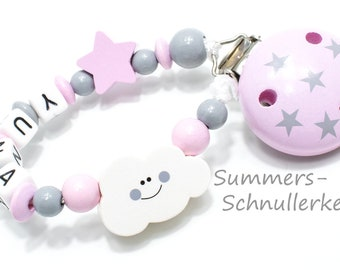 Schnullerkette  mit Namen, für Mädchen, rosa-grau mit Sternchen und Wolke