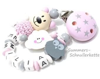 Personalisierte  Schnullerkette mit Name ,  Wolke , Eule, Teddy mit Häkelkugel, Rosa-Grau, Geschenk