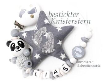 Schnullerkette / personalisiert mit Namen /  Panda