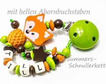 Schnullerkette Fuchs orange 3-D SummersStore Ahornbuchstaben
