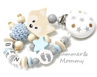 Schnullerkette mit Namen , Name, Fuchs Junge, personalisiert, natur-babyblau