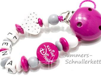 Schnullerkette Pink, Glitzerherz,  kleine Diva
