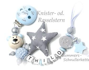 Schnullerkette mit Knister- od Rasselstern, Teddy kleiner Prinz Sternchen