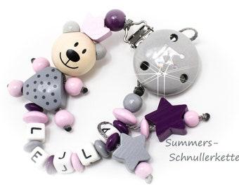 Personalisierte Schnullerkette für Mädchen, Teddy, Beere, Rosa-grau, Krone