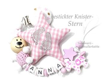 personalisierte Schnullerkette mit Namen, für  Mädchen, Knisterstern und Teddy, Pony