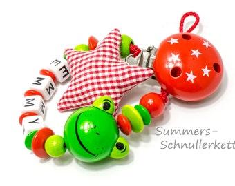 Schnullerkette mit Stoffstern, Frosch, Rot-grün, mit Namen, Name, Baby, Geschenk