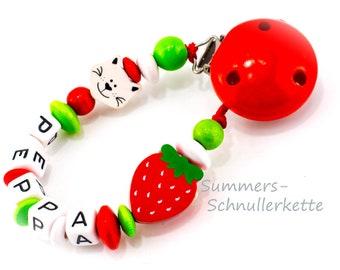 Schnullerkette mit Namen / Acrylbuchstaben/ Name / personalisiert/Katze, Erdbeere / pacifier dummy chain