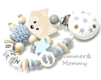 Schnullerkette mit Namen , Name, Fuchs Junge, personalisiert, natur-babyblau, Jungen