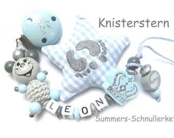 personalisierte Schnullerkette in hellblau-grau, Maus, Krone, Junge, Schnullerkette mit Namen