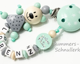 Schnullerkette mit Namen in Mint Grau, kleiner Prinz, Junge, Teddy Bär