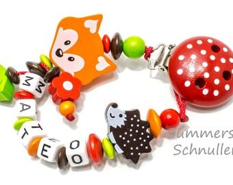 Personalisierte Schnullerkette mit Waldmotiven Fuchs Igel, Babygeschenk,  Taufe, Mädchen, Junge