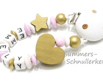Schnullerkette personalisiert mit Namen,  gold rosa Taufe, Baby Geschenk