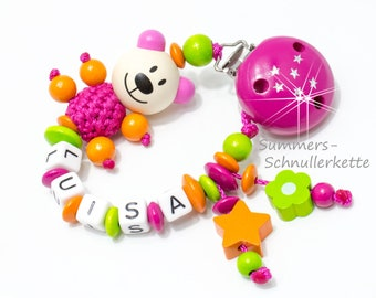 Schnullerkette mit Namen,  Teddy Girls, Pink-Orange