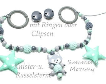 Stroller chain fox Knister and rattle stars, crochet pearls mint grey