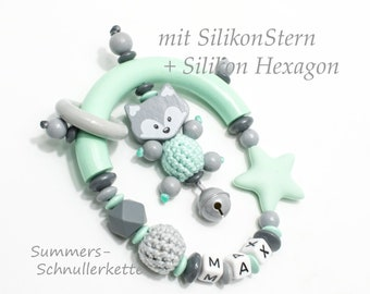 Grippling in mint Grey with fox, silicone beads and wish names