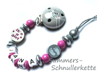 Schnullerkette mit Namen It s a girl