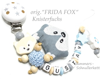"personalisierte Schnullerkette ORIGINAL Fuchs  ""Frida Fox"", mit Name, Namen"