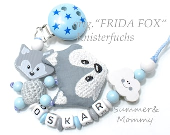Schnullerkette mit original Frida Fox Knisterfuchs