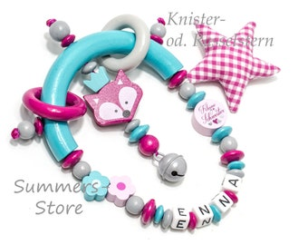 grippling Greifring Fox Turquoise Pink, crackling or rattle star, with name