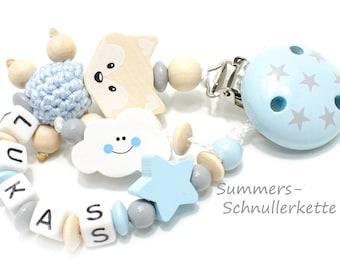Personalisierte Schnullerkette mit Namen, Fuchs, hellblau-babyblau, beige, Wolke Sternchen