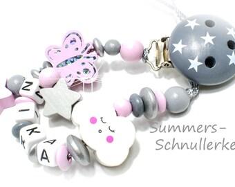 Schnullerkette mit Namen, schlafende Wolke, Schmetterling und Sternchen für Mädchen
